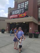 family photo outside of Hershey's Chocolate World