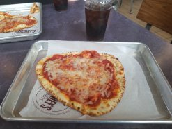 Kids flatbread pizza from food court
